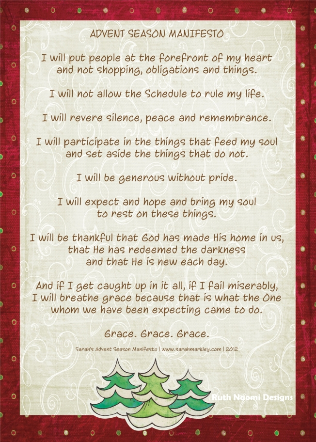 advent season manifesto
