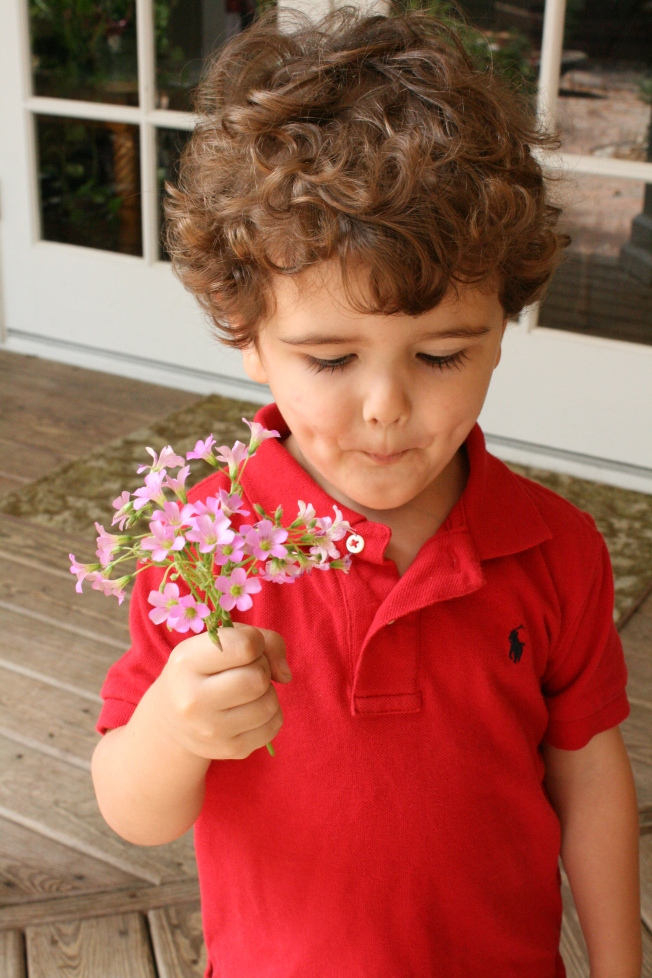 a boy and a bouquet